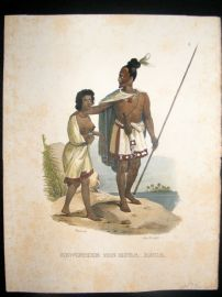 Schinz 1845 Antique Hand Col Print. Von Houa-Houa Tattoo Man, New Zealand 9